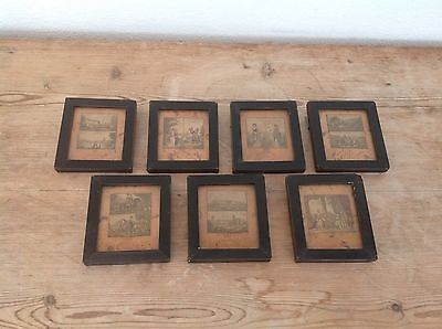 Antique Vintage Collection of BAXTER PRINTS X 7 Framed 1920s or Earlier