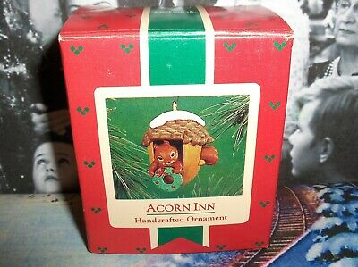Acorn Inn`1986`Little Squirrel With His Wreath In Acorn-Hallmark Tree Ornament
