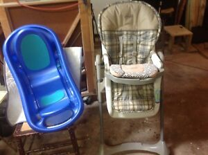 Baby bath and  Graco high chair