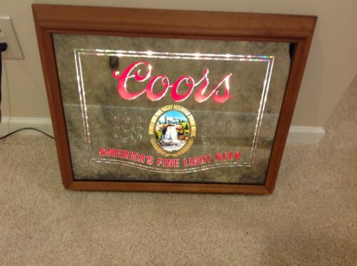 Vintage 1979 Coors Americas Fine Light Beer Lighted Up Mirror Bar Sign  25X20""