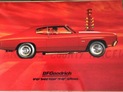 ORIGINAL BF GOODRICH POSTER SIGN 1970 RED CHEVROLET CHEVELLE