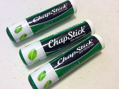 X3 New Chapstick Lip care Classic Spearmint Protects and Moisturizes