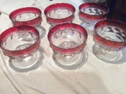 6 Tiffin Cranberry/Ruby Thumbprint Sherbets