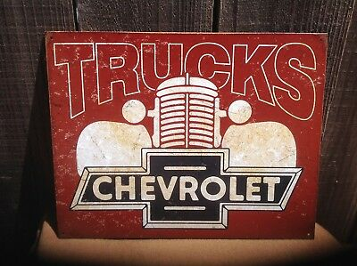 Chevy Trucks Tin Metal Sign Wall Bar Garage Shop Classic