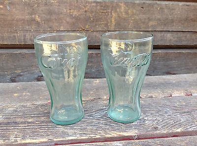 "2 Vintage Small Coca-Cola Coke Glasses - Green Tinge 4 1/2"" Tall"