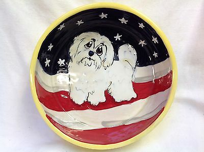 "Shih Tzu  6"" Ceramic Dog Bowl Personalized at No Charge and signed by the Artist"