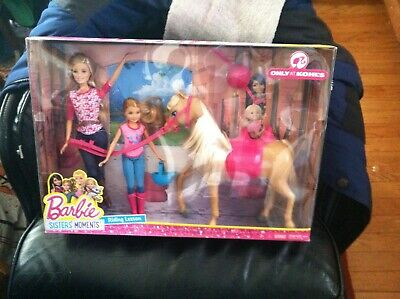 Barbie Sisters Moments Riding Lesson Tawny Horse w 2 DOLL & Accessories