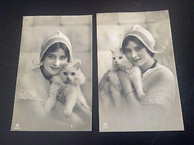 Lot de 2 Cartes postales chat chaton jeune femme