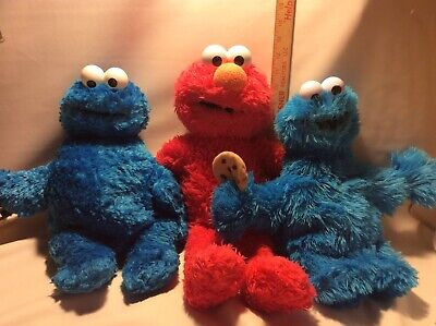 New Set of 3 LARGE 19 Sesame Street Elmo & Cookie Monster Plush Toy Soft lot BAB