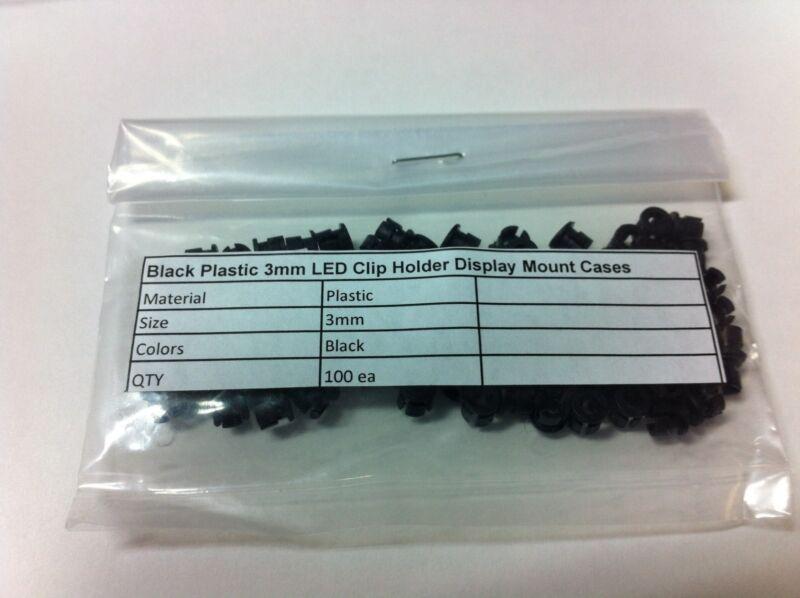 100 PCS Black Plastic 3mm LED Clip Holder Display Mount Cases USA
