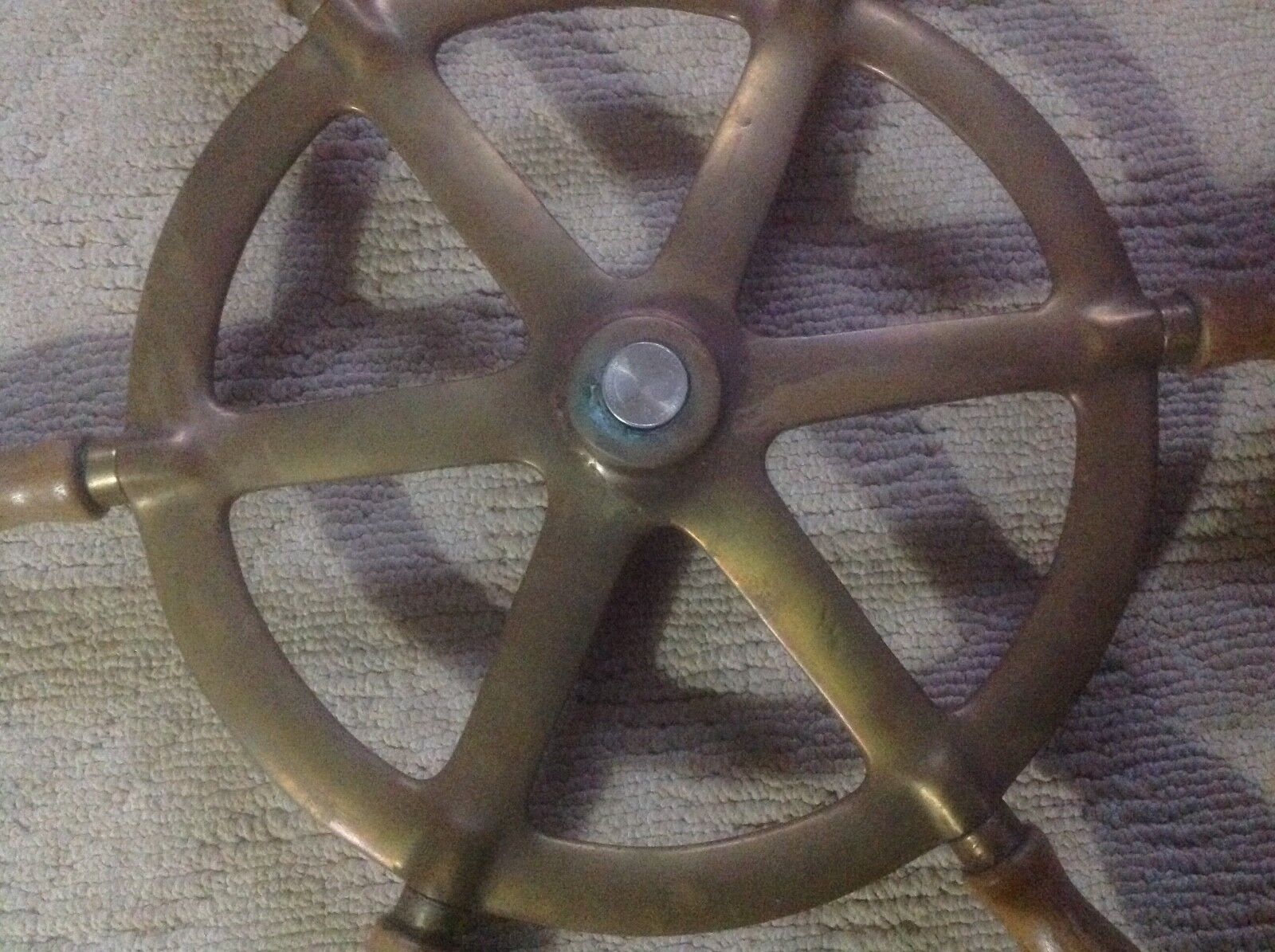 Vintage Perko Ship's Steering Wheel Wooden&Brass~Antique Nautical Maritime Boat