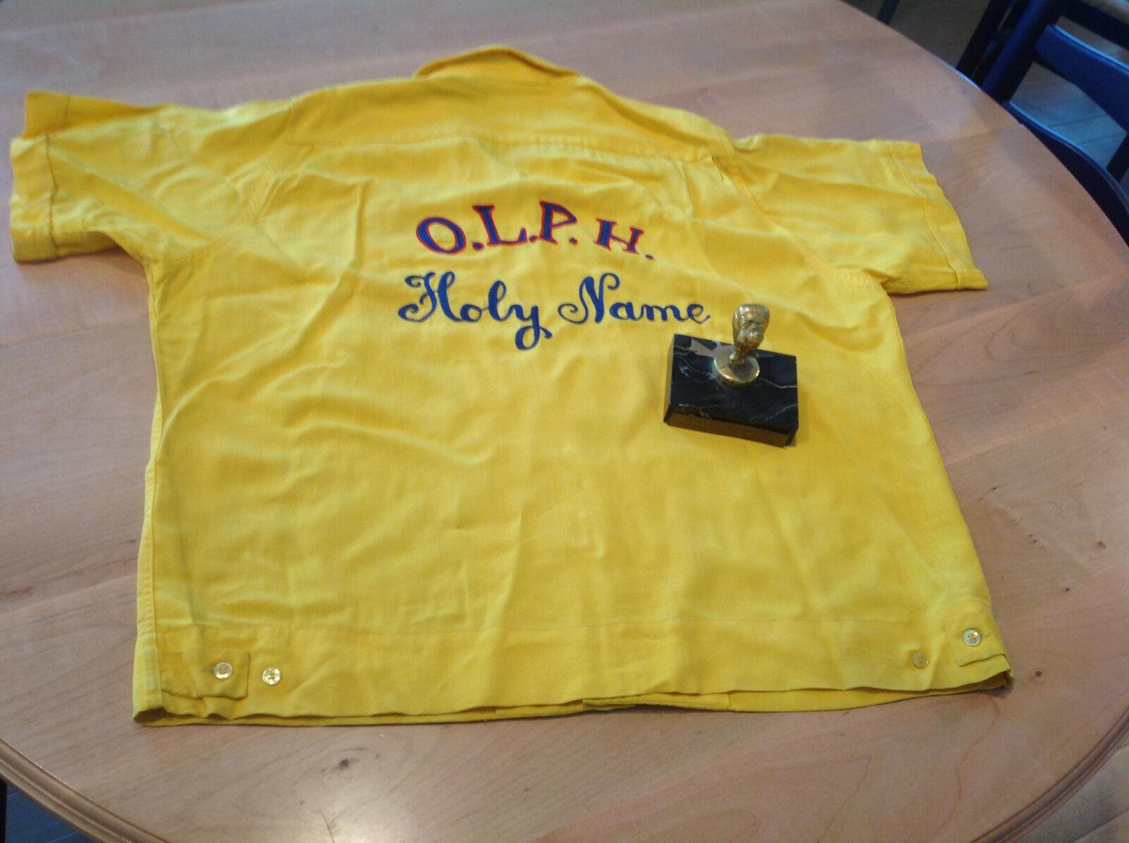 Vtg 1950's Womans Bowling Shirt /jersey Size L & Bowling Trophy