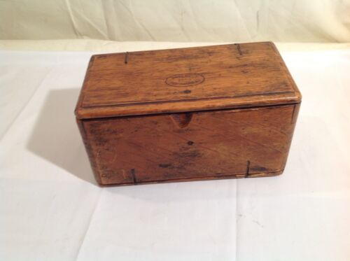 Antique 1889 Oak Roll-Up Wooden Sewing Box Singer