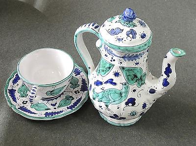 Cantagalli Maioliche Coffee Tea Pot Cup   Saucer Euc