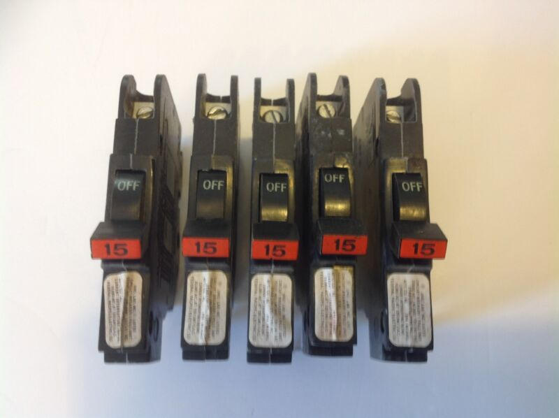 Lot of 5-Federal Pacific, FPE NC015, 015,  1-pole 15 amp (thin)
