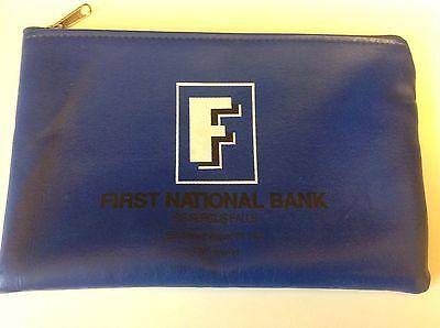 Vtg First National Bank Fergus Falls Mn Zippered Money Deposit Bag Nice