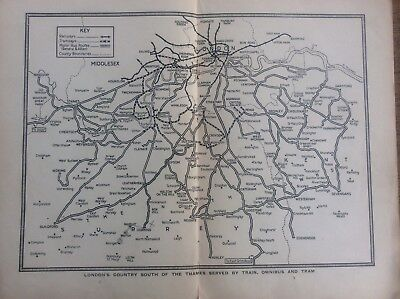 c1920 Map London's Country South of the Thames served by Train Omnibus & Tram