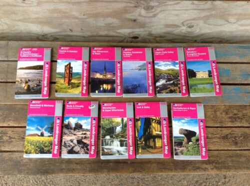 Lot of 11 Ordnance Survey Pink Landranger Maps