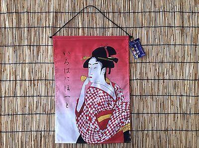 Kabuki Ukiyoe Geisha Kimono Girl Hanging Wall Scroll Red Kakejiku Tapestry Decor