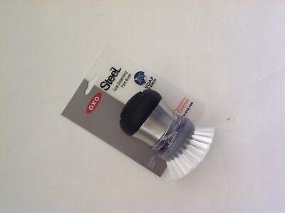 New OXO Good Grips Steel Soap Dispensing Palm Brush Stainless Steel Oxo Steel Soap