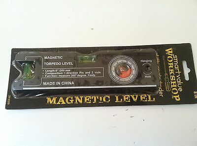 8  Black Magnetic Torpedo Level With Angle Finder And 2 Vials Brand New