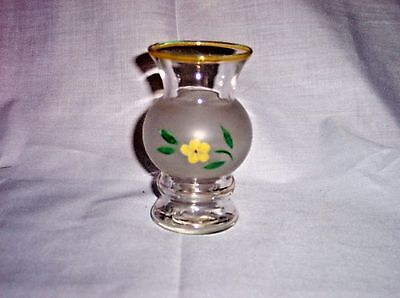 "Vintage Frosted Glass Vase Hand Painted Yellow Flower Gold Trim Rim 4"" Tall"