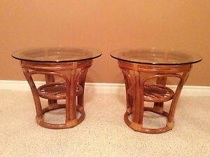 Rattan/Glass End Tables