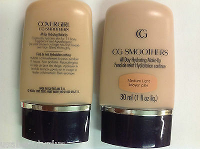 2 X CoverGirl CG Smoothers All Day Hydrating Makeup Foundation MEDIUM LIGHT.