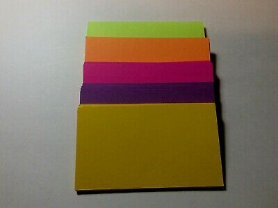100 Neon Blank Business Cards 3.5 x 2, Multi, flash cards, n