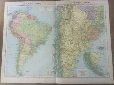 "Vintage Antique 1939 Philips Map 20x15"" South America General & South"