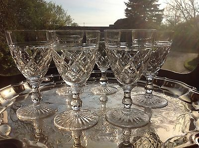 "6 Stuart Crystal Victoria Wine Glasses 4 5/8"" Signed"