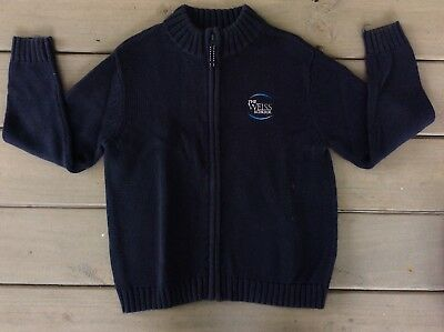 (Lands End S 7/8 Sweater School Uniform Drifter Cardigan Navy Zip Front Weiss )