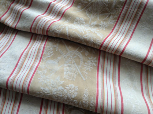 "Antique/Vintage French Damask  Cotton Ticking Fabric Stripe Upholstery 35"" X86"""