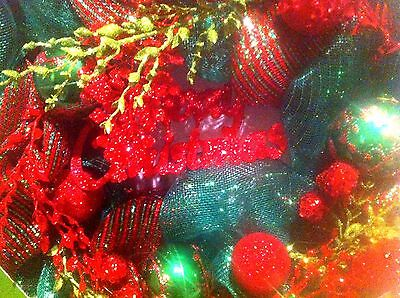 New In Box 24 Celebrate It Mesh Christmas Wreath ,red & Green