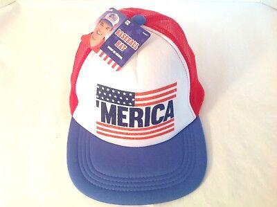 Merica Trucker Hat (NEW! Merica Trucker Hat Cap Mesh Foam Snapback USA Flag Red White Blue July)