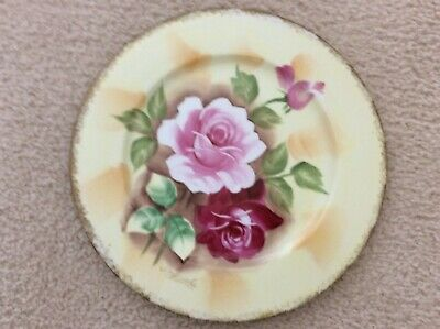 J. Nagasaki Hand Painted Hanging Wall Plate-Roses-Signed-Pre-owned-Perfect  for sale  Pendleton