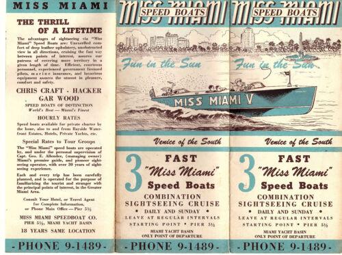 Speed Boat Sightseeing Cruises Miami FL Vtge 1940