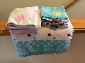 Bath sheet, hand towels and face cloths