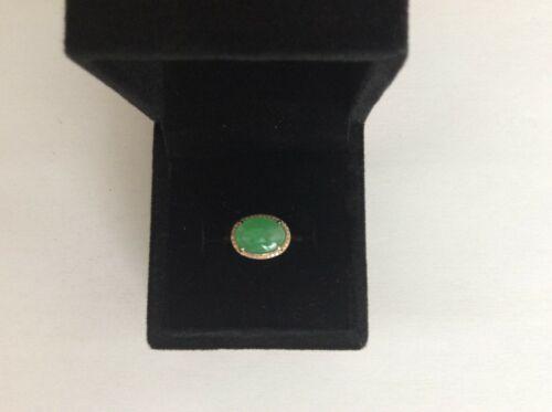 NEW Grade A Natural Icy Green Jadeite Jade 18K Rose gold Diamond Ring SIZE 6