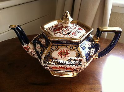 Antique Gaudy Welsh Teapot Imari Colours