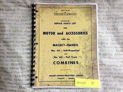 Massey Harris Combines No 60 Ps Pull -type Self-propelled Repair Parts Manual