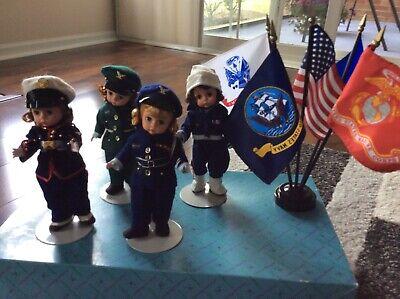 4 Madame Alexander 8 inch Dolls Army Navy Marine AirForce Plus Flags
