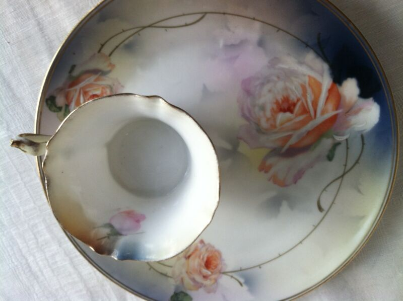 Prussia Porcelain Plate and Porcelain Footed Tea Cup, Marked