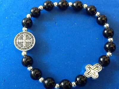 Stretch Saint St Benedict Rosary Bracelet Cross Protection Silver Tone Black
