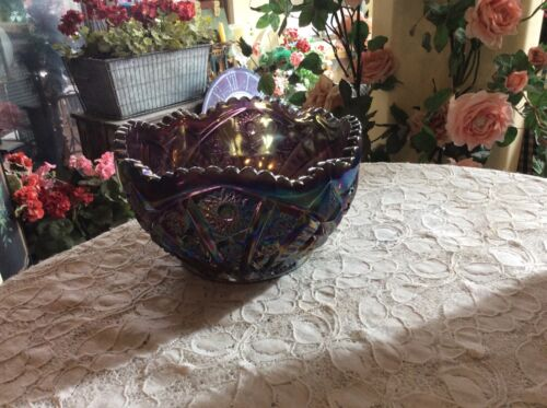 Vtg Imperial Glass Purple Amethyst Iridescent Carnival Glass Centerpiece Bowl