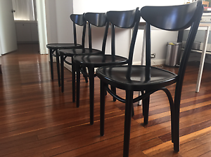 4 Authentic Genuine Thonet Melnikov Bentwood Black Cafe Chairs Woollahra Eastern Suburbs Preview