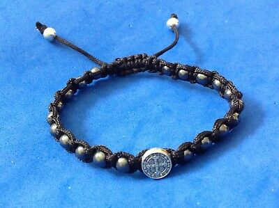 Medal Jewelry - Saint Bracelet ST BENEDICT PROTECTION Medal Hematite Black Cord Mens Women