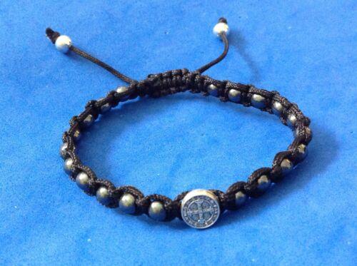 Saint Bracelet ST BENEDICT PROTECTION Medal Hematite Black Cord Mens Women
