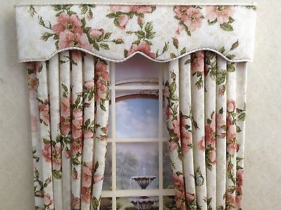 12th Cream/beige Pink Roses Dolls house Curtains 4.75 X 7.5 Or Made To Your Size