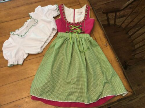 3 pc Vintage Original Steindl Dirndl Dress Apron Blouse GIRLS Sz 134 /7-10